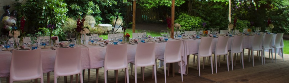 Private dining table in garden